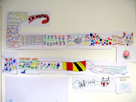 Very Very Long Colourful Cat visitor artworks