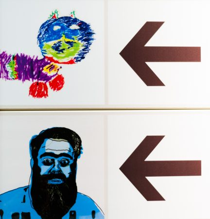 Generation ART signage featuring 'Owen' and the 'Very Very Long Colourful Cat'