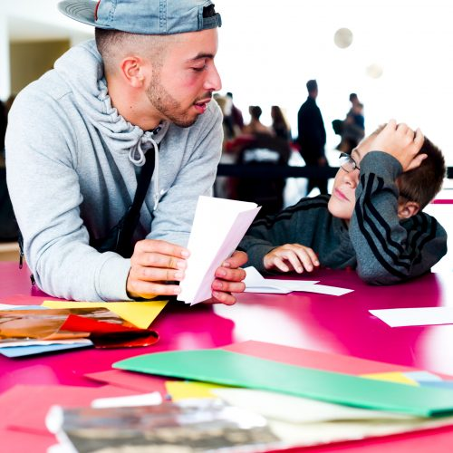 Generation ART commissioned artist Leandro Stafford and young visitor, Turner Contemporary