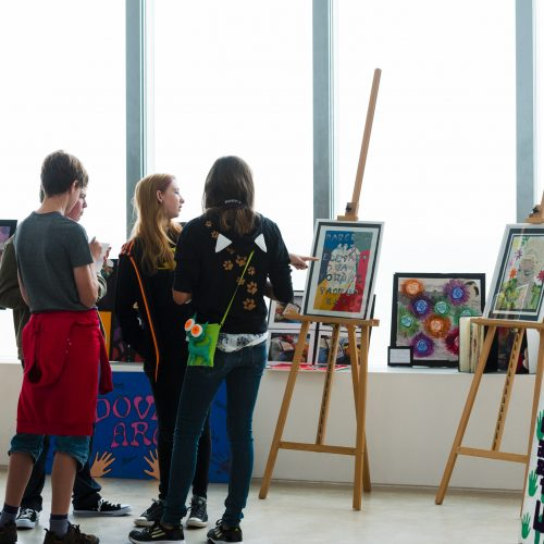 Students showing and discussing their work alongside Generation ART, International Youth Day, Turner Contemporary