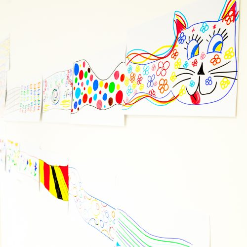 Very very long colourful cat workshop artwork