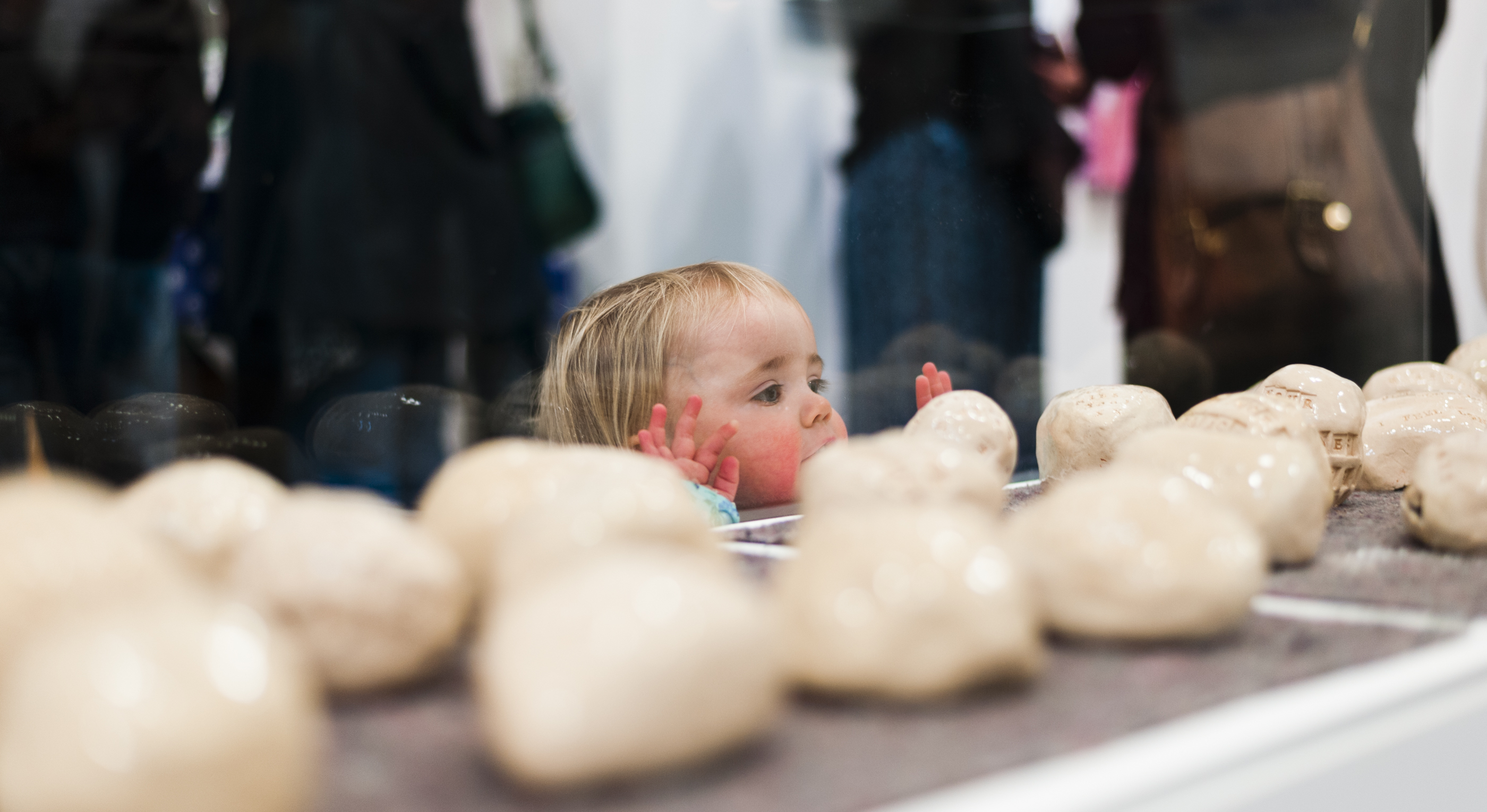 Young visitor with Feeling Stones, Generation ART, Leicester