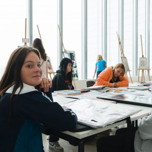 Students in the Generation ART work and exhibition space, International Youth Day, Turner Contemporary